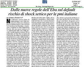 Dalle nuove regole dell'Eba sul default rischio di shock settico per le pmi italiane