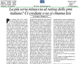La più seria minaccia al rating delle pmi italiane? Ci crediate o no si chiama Isis