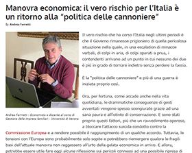 Manovra economica: il vero rischio per l'Italia è un ritorno alla politica delle cannoniere