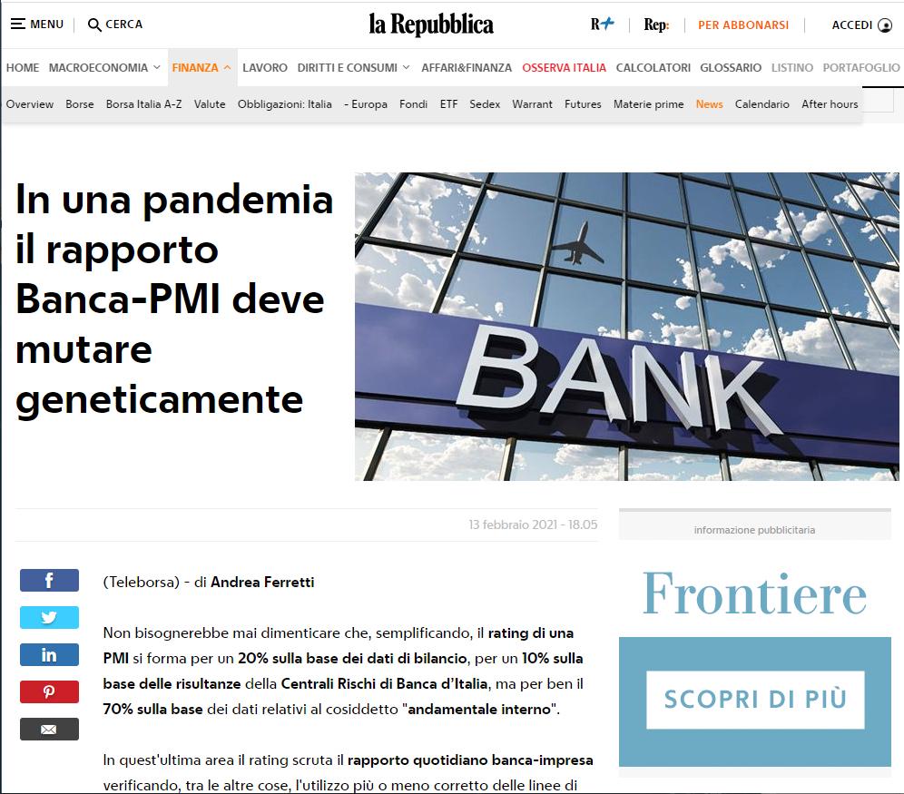In una pandemia il rapporto Banca-PMI deve mutare geneticamente
